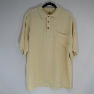 TOMMY BAHAMA Polo Shirt LARGE Yellow 100% Silk